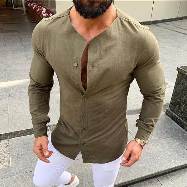 Men Dress Shirt Regular Fit Dimension Solid Color Brown