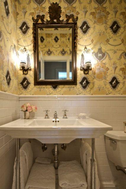 Leigh Taylor Interiors. Guest Bathroom. Love this wallpaper! -via Interior Canvas