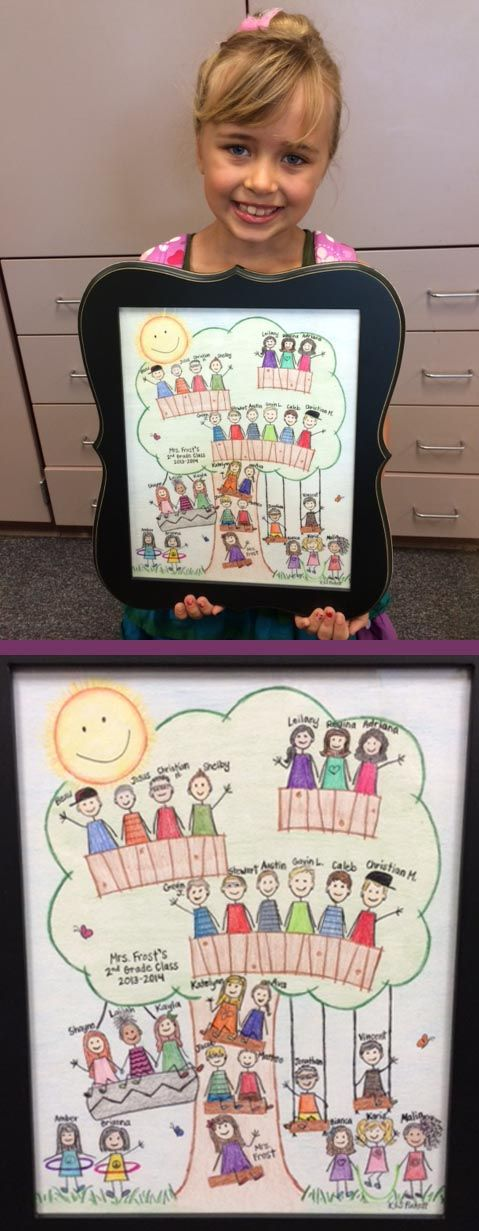 Classroom Tree. Teacher appreciation gift. Colored pencil drawing of students. Love this!
