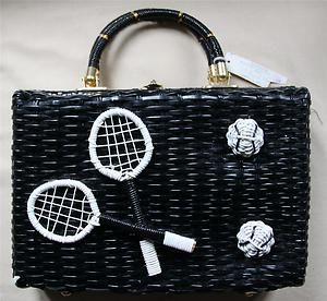 Tennis Theme Black Straw Handbag 1950s 1960s New Old Stock