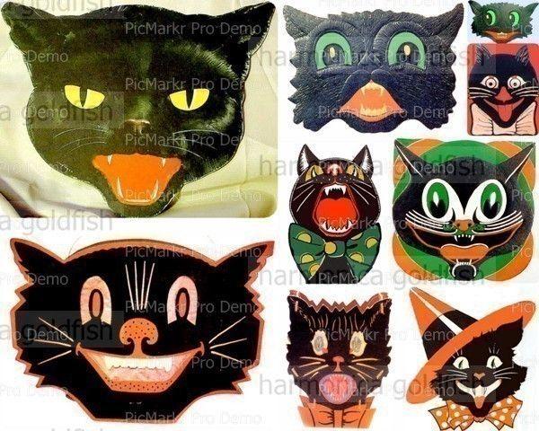 Halloween BLACK CATS digital collage sheet vintage