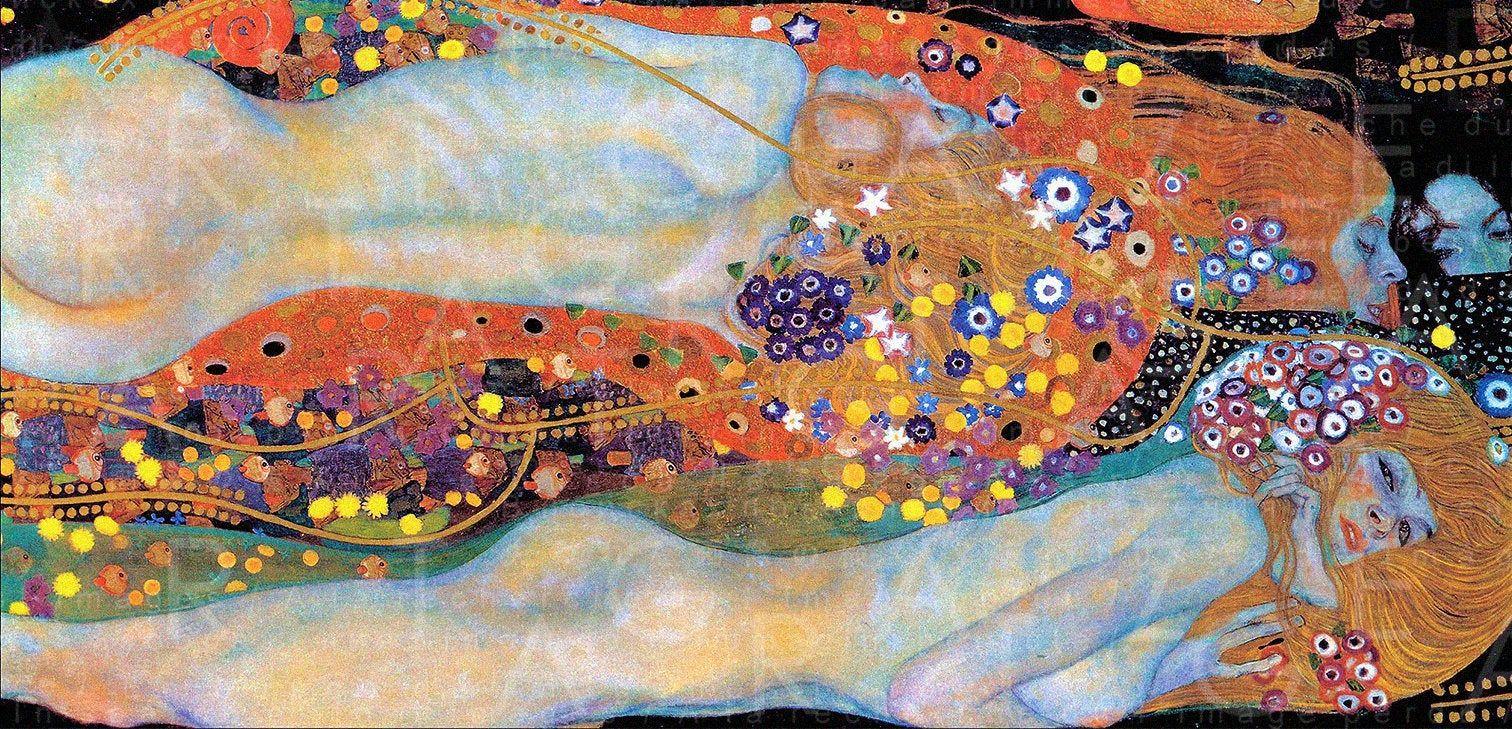 Klimts water serpents a striking painting vintage