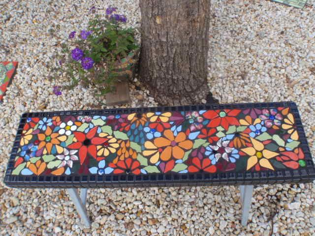 Mosaic Bench Seat Sea Glass Mosaic Mosaic Garden Mosaic Wall Art