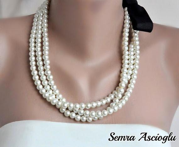 Handmade Weddings Pearl Necklace brides by HMbySemraAscioglu, $48.00 collar de perlas novia
