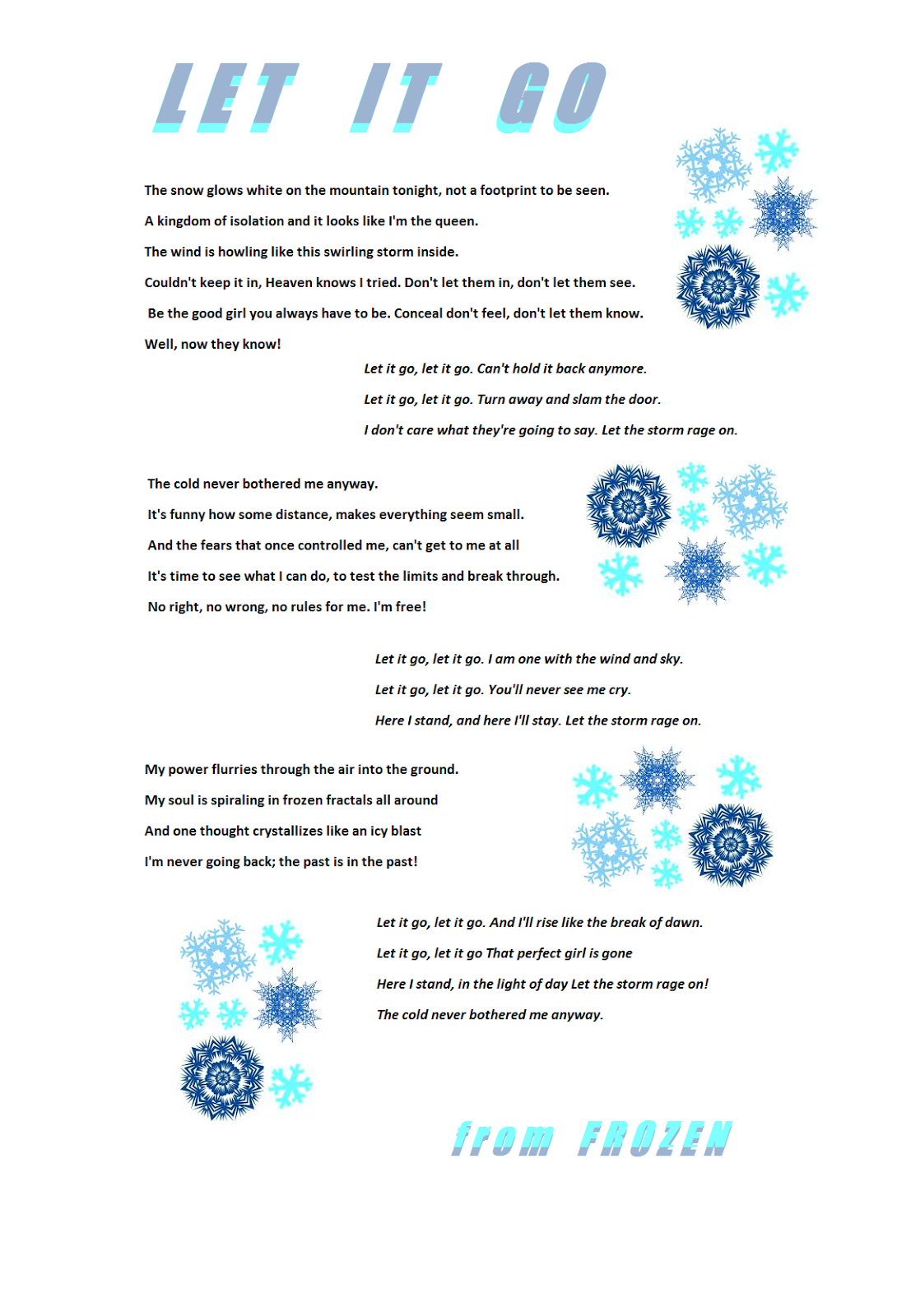 Let it go lyrics | Frozen lyrics | Pinterest