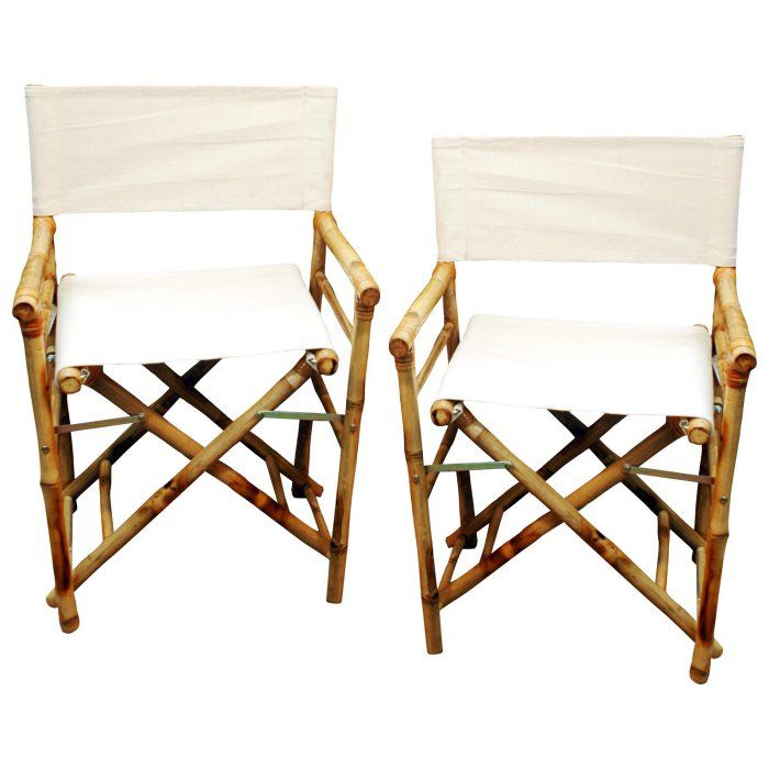 Bamboo54 Folding Bamboo Low Directors Chair With Canvas Cover Set Of 2 Hayneedle