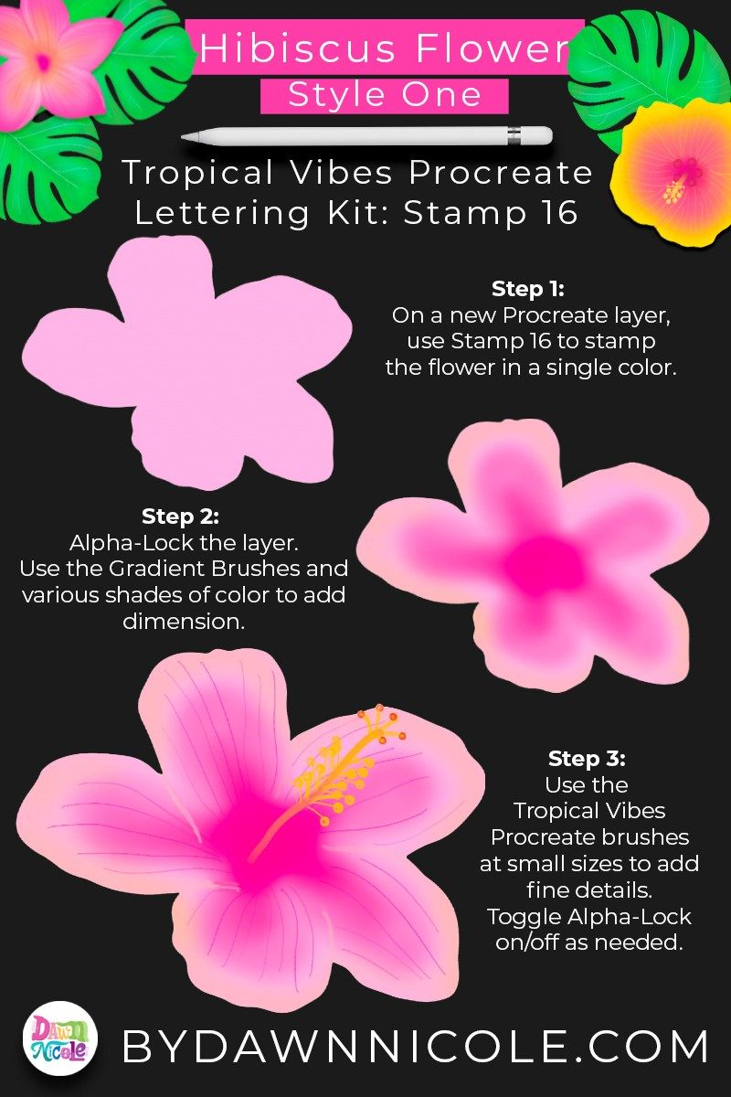 Hawaiian Flowers Procreate Stamp Tutorial In 2020 Digitize Hand Lettering Flowers Procreate Brushes Free