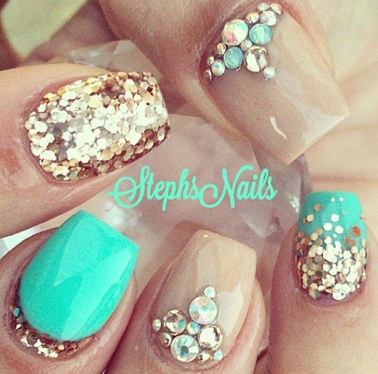Turquoise | Uñas | Pinterest | Arte de uñas, Uñas verde menta y ...