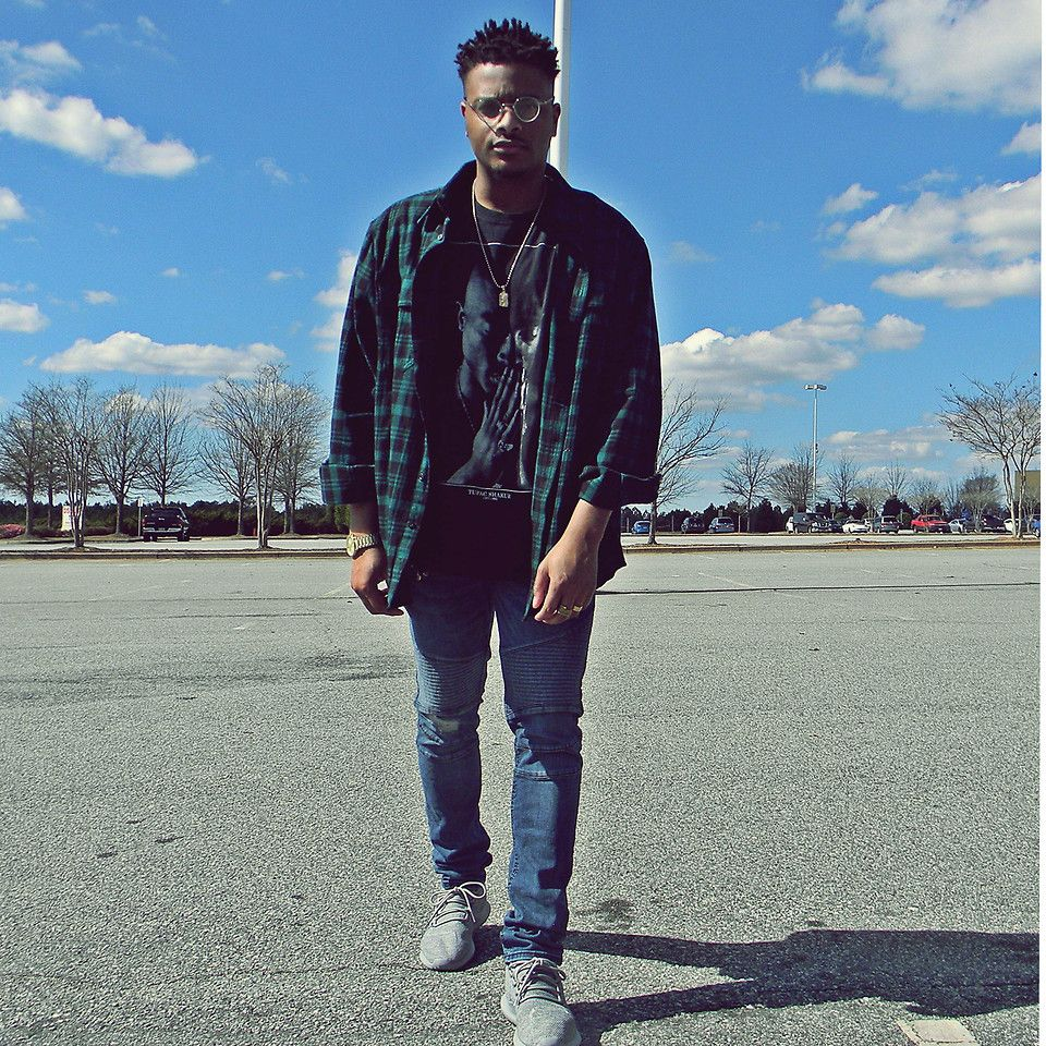 """I woke up with the song, """"T-Shirt"""" in my head, so  i felt like dressing like I was part of the group """"Migos"""". I'm wearing a Flannel that came from Walmart, Tupac Tee (also from Walmart), Moto denim from H&M, & gray Adidas Tubular Shadows. More photos @ J-SOMusic.com. My mixtape, """"Trapbars"""" available on April 7th! #mensstyle #migos #adidas #hm #flannel #motodenim #streetstyle #springfashion"""