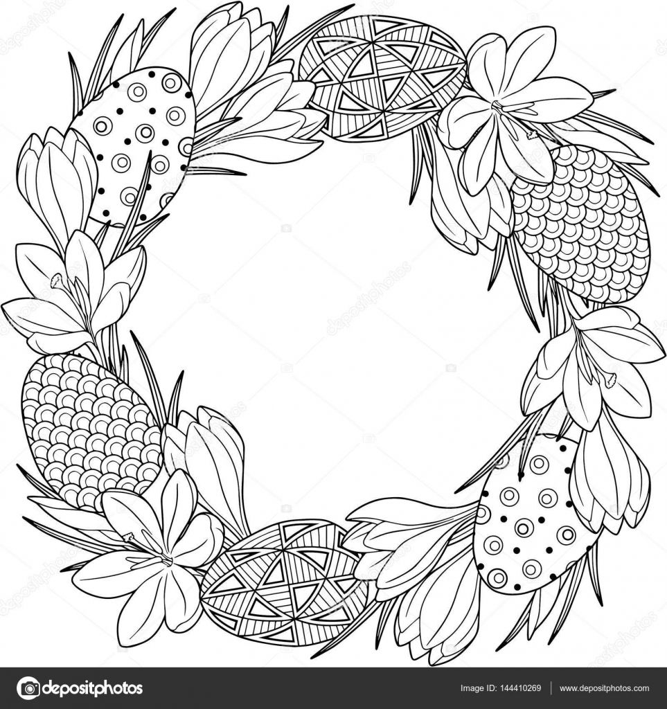 Photo of Herunterladen – Spring flower wreath of crocuses and easter eggs. Vector element…