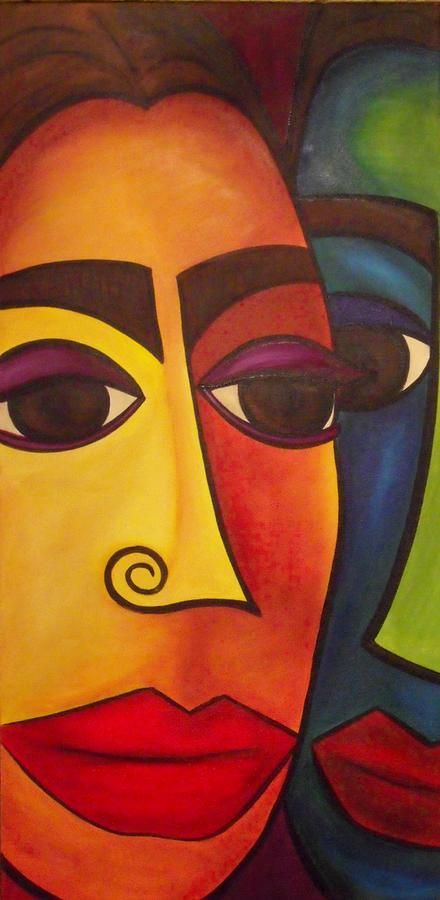 darlene keefee behind every good woman abstract faces painting