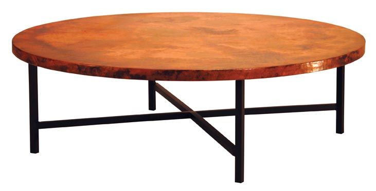 Large Round Copper Coffee Table With Variations Of Rich Colors