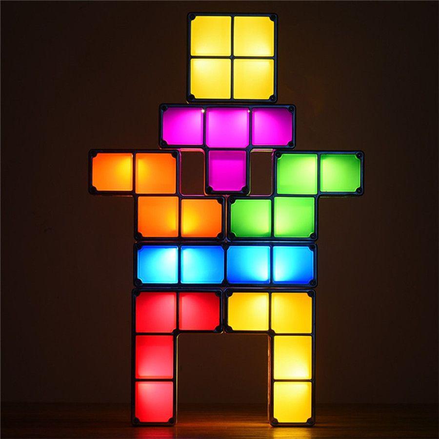 Diy Tetris Puzzle Novelty Led Night Light Stackable Led Desk Table Lamp Constructible Block Kids Toy S Light Christmas Gift Diy Desk Led Night Light Metal Wall Sign