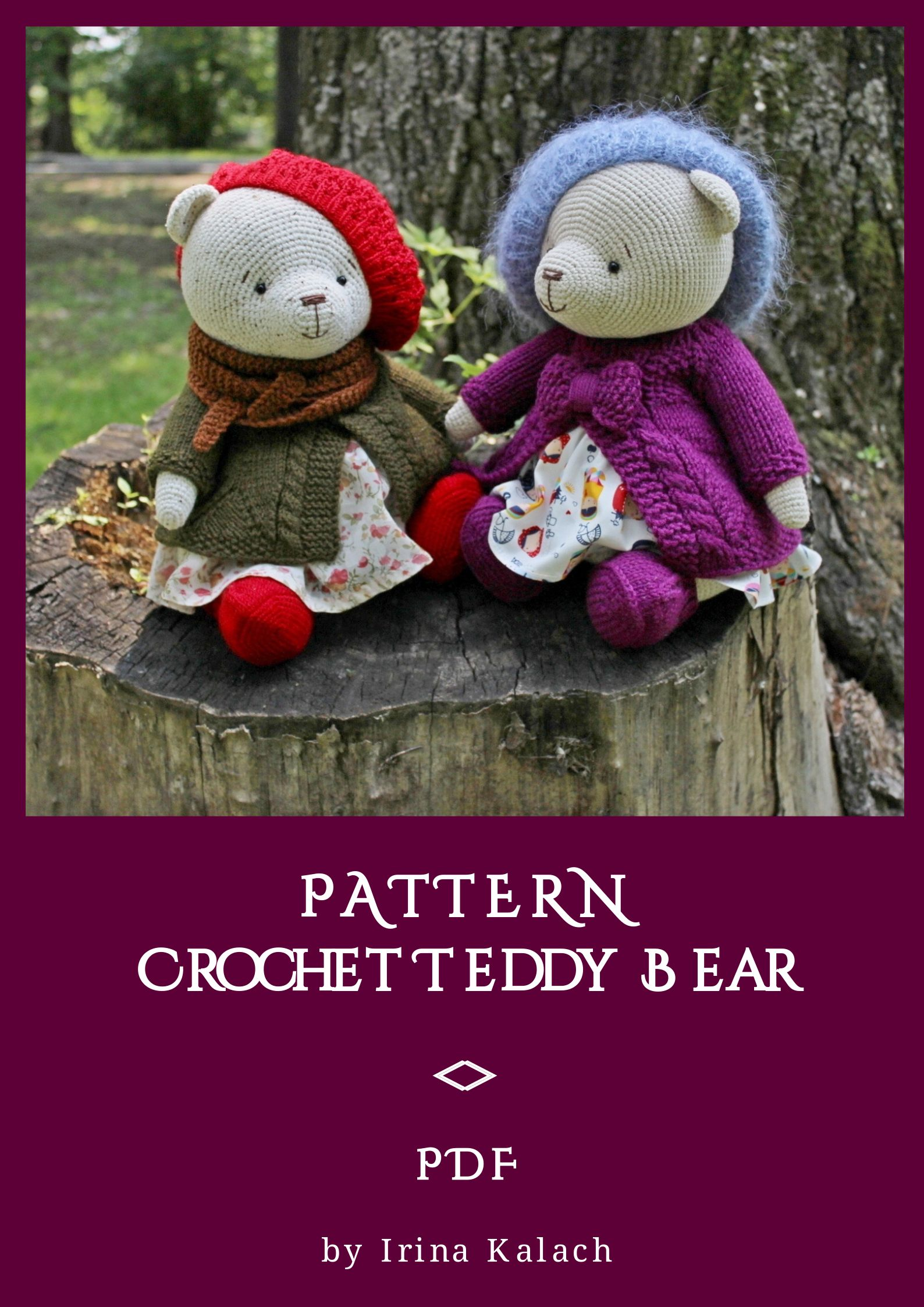 PATTERN Crochet Teddy bear. PATTERN Amigurumi Teddy bear. PATTERN Teddy Bears Outfits Girls #crochetteddybears