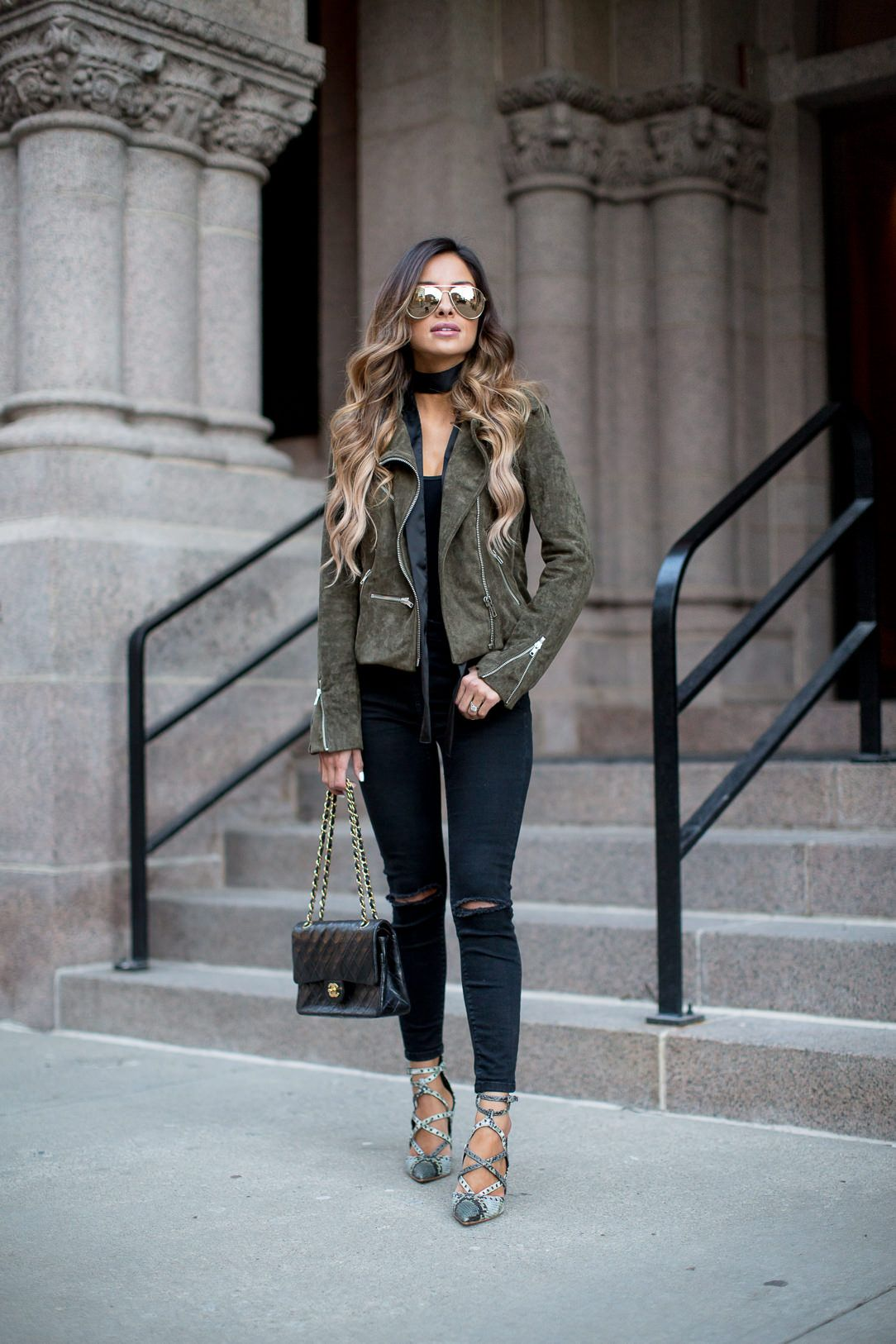 fashion blogger spring Green suede jacket, Green leather