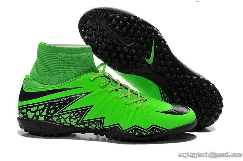 Nike Hypervenom Phelon II Flyknit TF Soccer Shoes Black Green ... dd88f21982