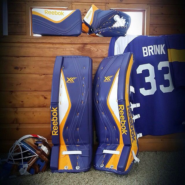 Shane Brink S New White Purple Yellow Reebok Premier Xlt S Goalie Pads Goalie Gear Hockey Pads