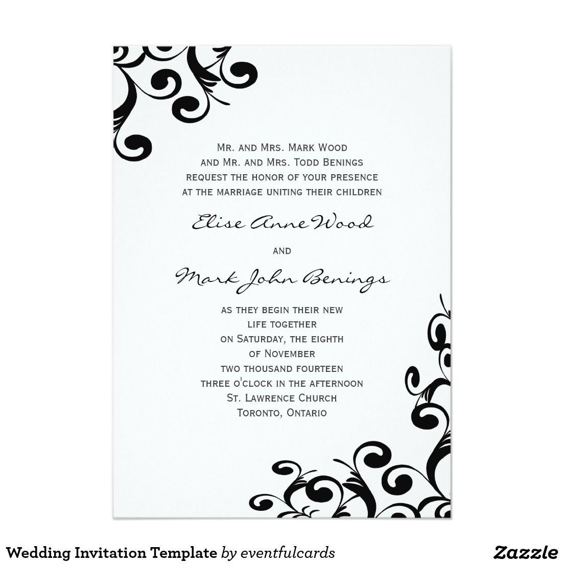 Wedding Invitation Template  Zazzle.com  Wedding invitation
