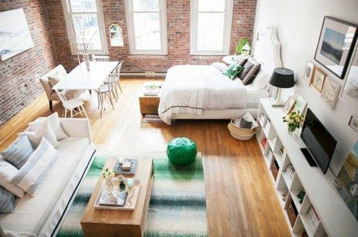 1 deco studio 20m2 meubler un studio mur en briques rouges sol en bois canape beige