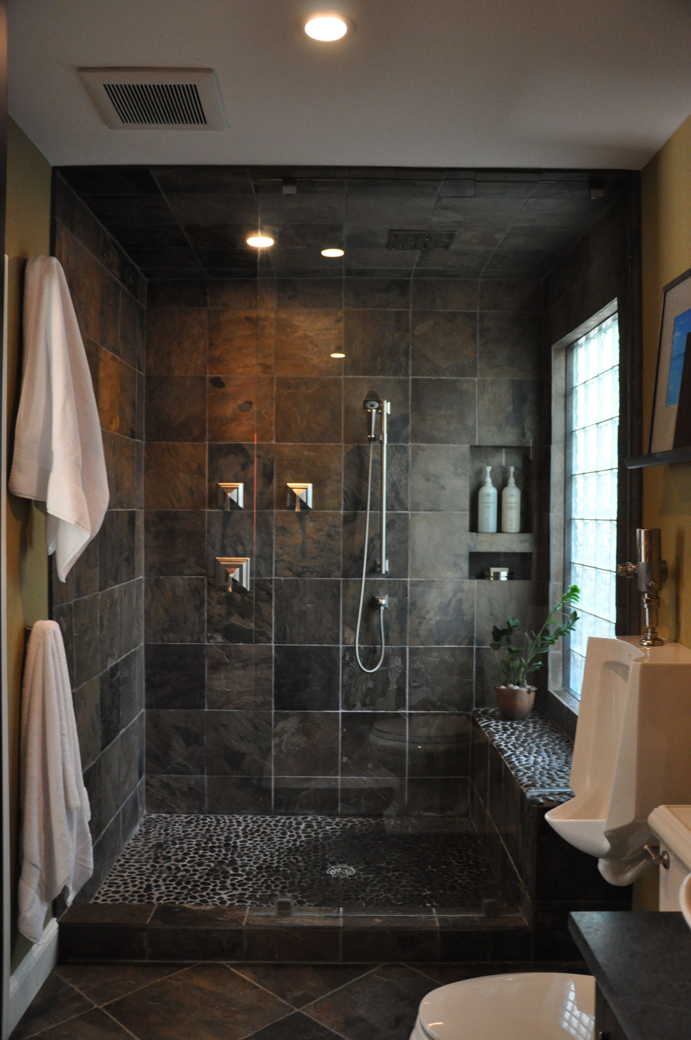 Masculine shower cool tile bathrooms Pinterest