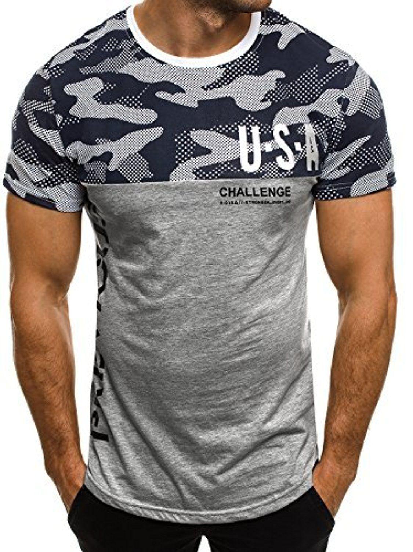 b72cdbdcc092b OZONEE Herren T-Shirt mit Motiv Kurzarm Rundhals Figurbetont J.STYLE SS125  GRAU M