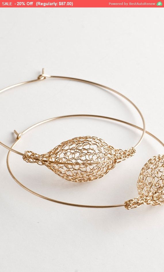 Cyber Monday SALE - Gold extra large hoop earrings - handmade wire ...