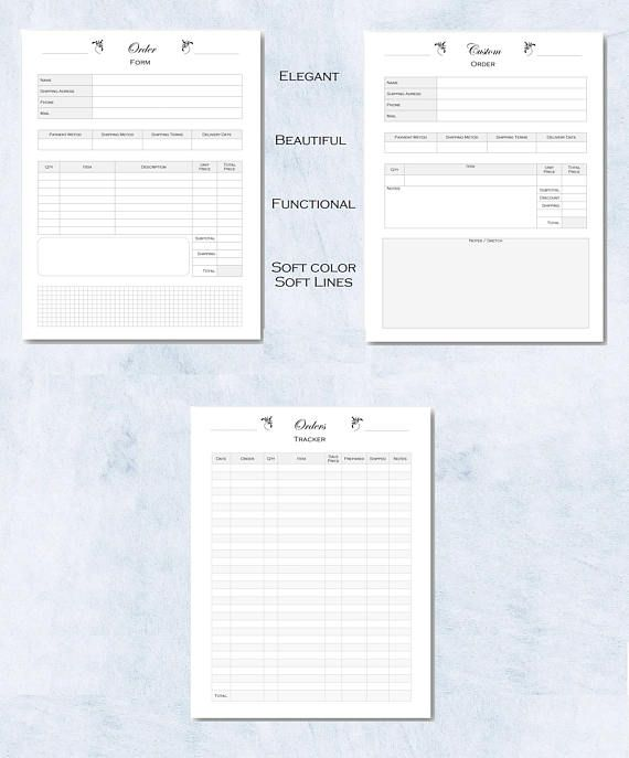 Order Form Custom order Tracker planner for small and Craft - paper order form