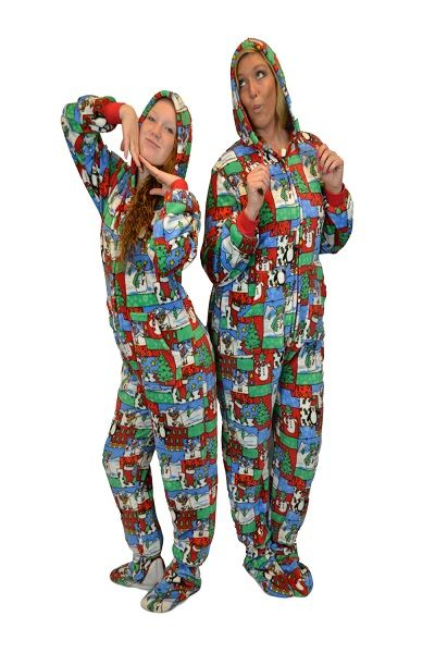 Ugly Christmas Sweater Adult Footed Pajamas with Hood. Unisex for men and  women. Big Feet PJs plush footed pajamas with hood are guaranteed to be the  ... d7585bd50