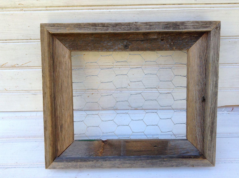 Chicken Wire Frame, chicken wire, Memo Board, Rustic Barn Wood, 12 x ...