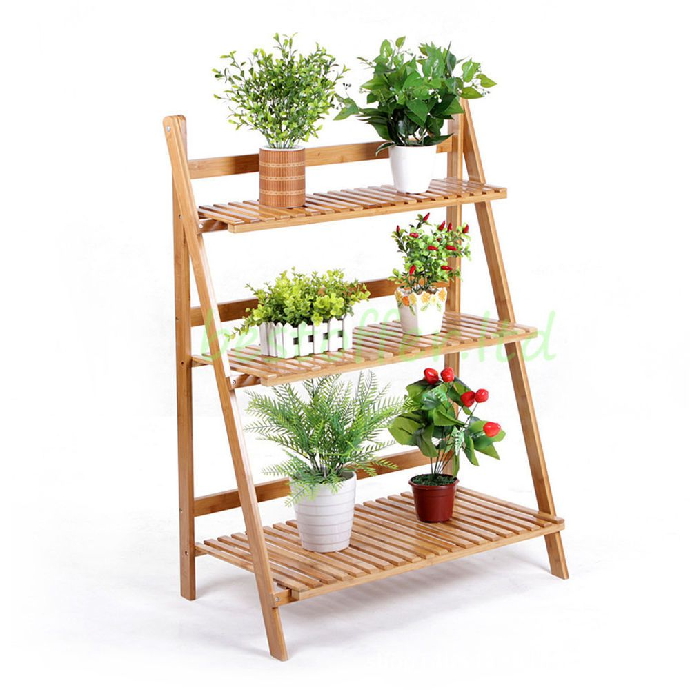 3 Tier Wooden Plant Free Stand Flower Display Shelf Garden Patio