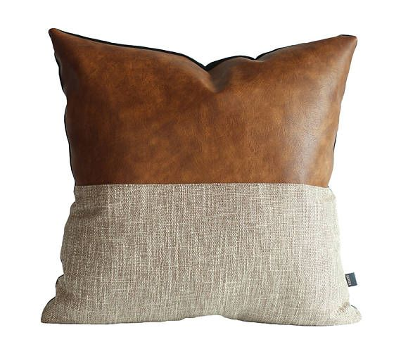Throw Pillows For Leather Couch: Designer Faux Leather Pillow Cover Kdays Halftan Pillow