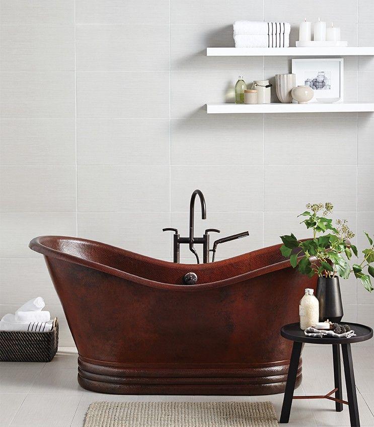 Aurora 72 Inch Hammered Copper Soaking Tub Copper Tub Bathtub Tub