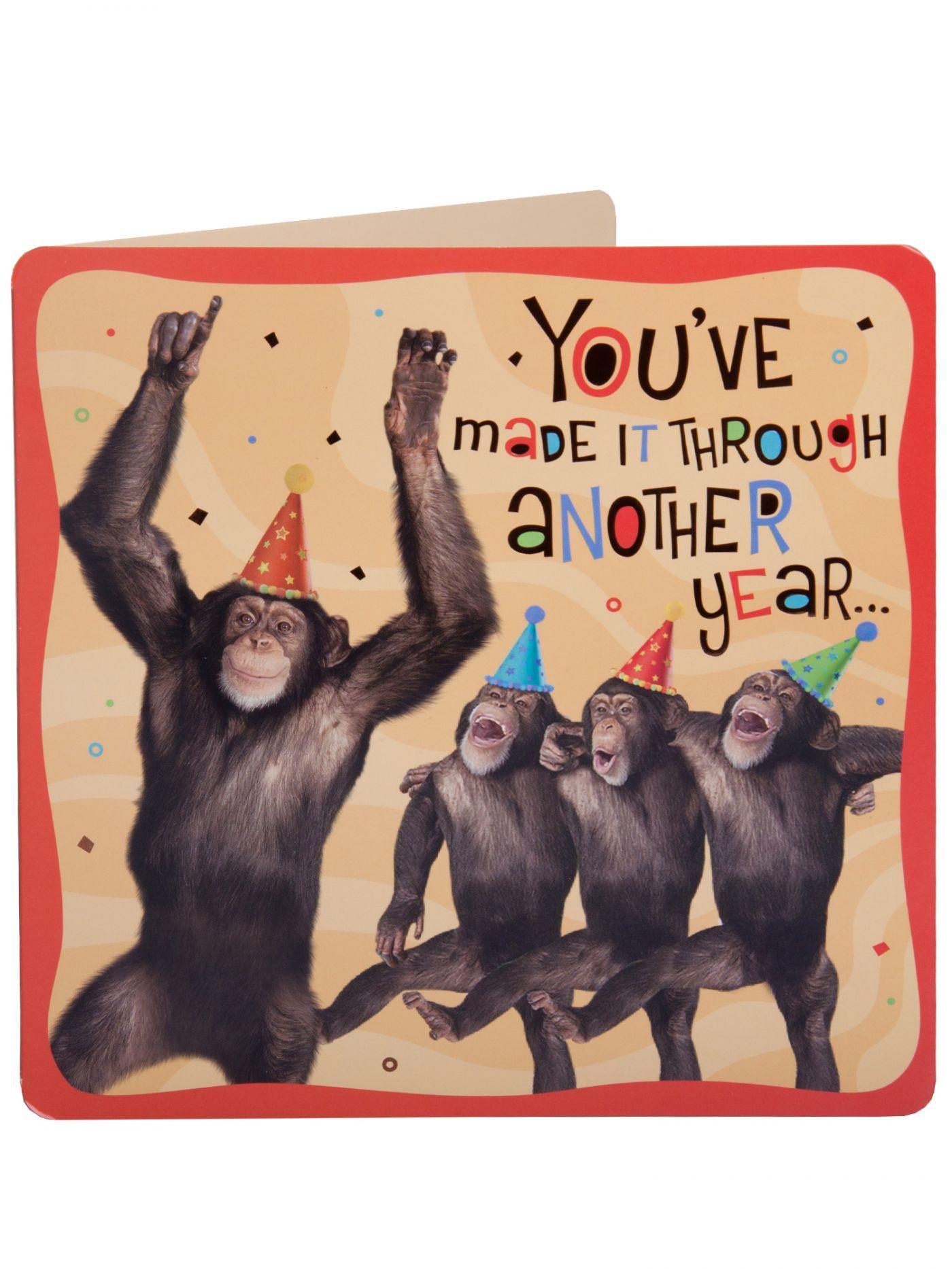 Monkeys having a party Birthday Sound Card Birthday Cards