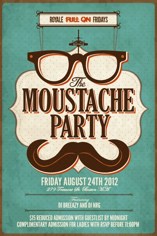 Full On Moustache Party - Friday Aug. 24th   Past + Present ...