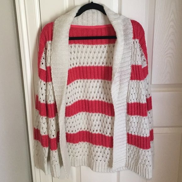 striped cardigan  coral and white striped cardigan // not UO just listed for views // Urban Outfitters Sweaters Cardigans