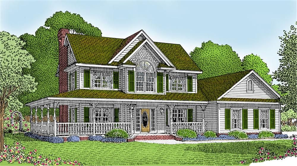 Old country home with wrap around porch country house for Country style house plans with wrap around porches