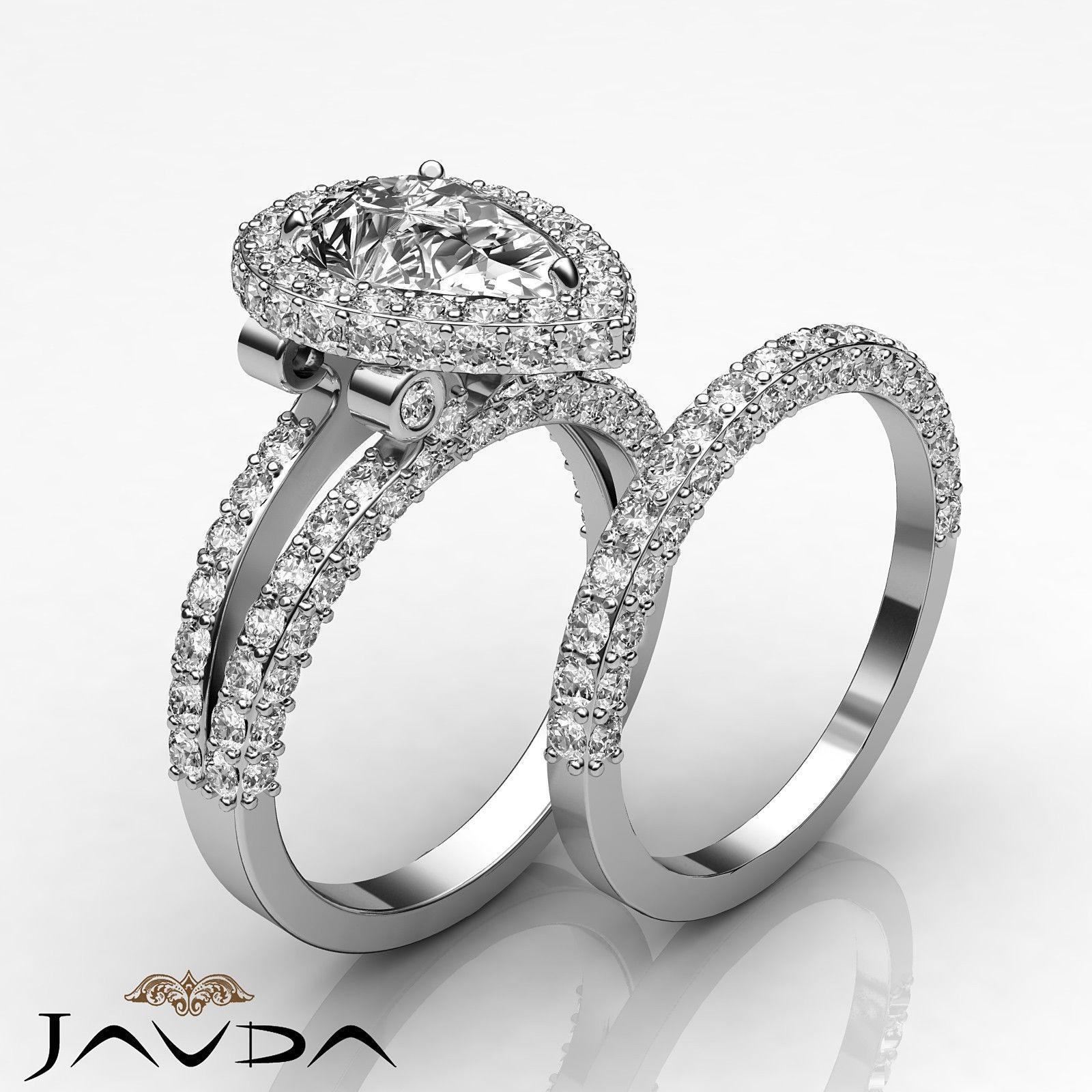 Bridal Set Pear Diamond Vintage Pave Engagement Ring GIA H VS2 Platinum 3 72 Ct | eBay