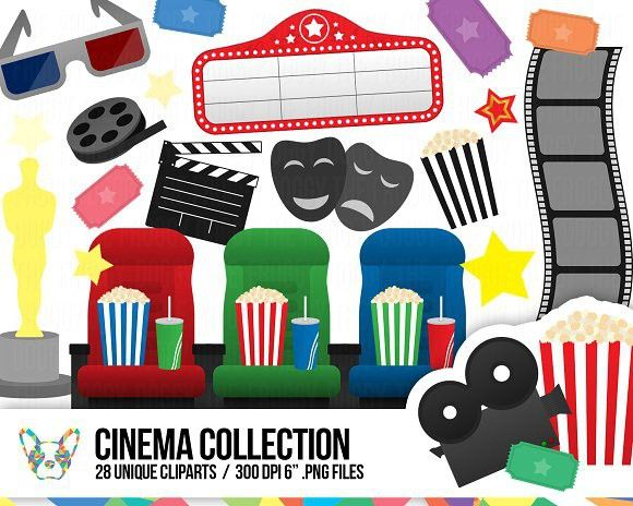 Cinema clipart  Cinema Clipart Collection. Scrapbooking #illustration #printable ...