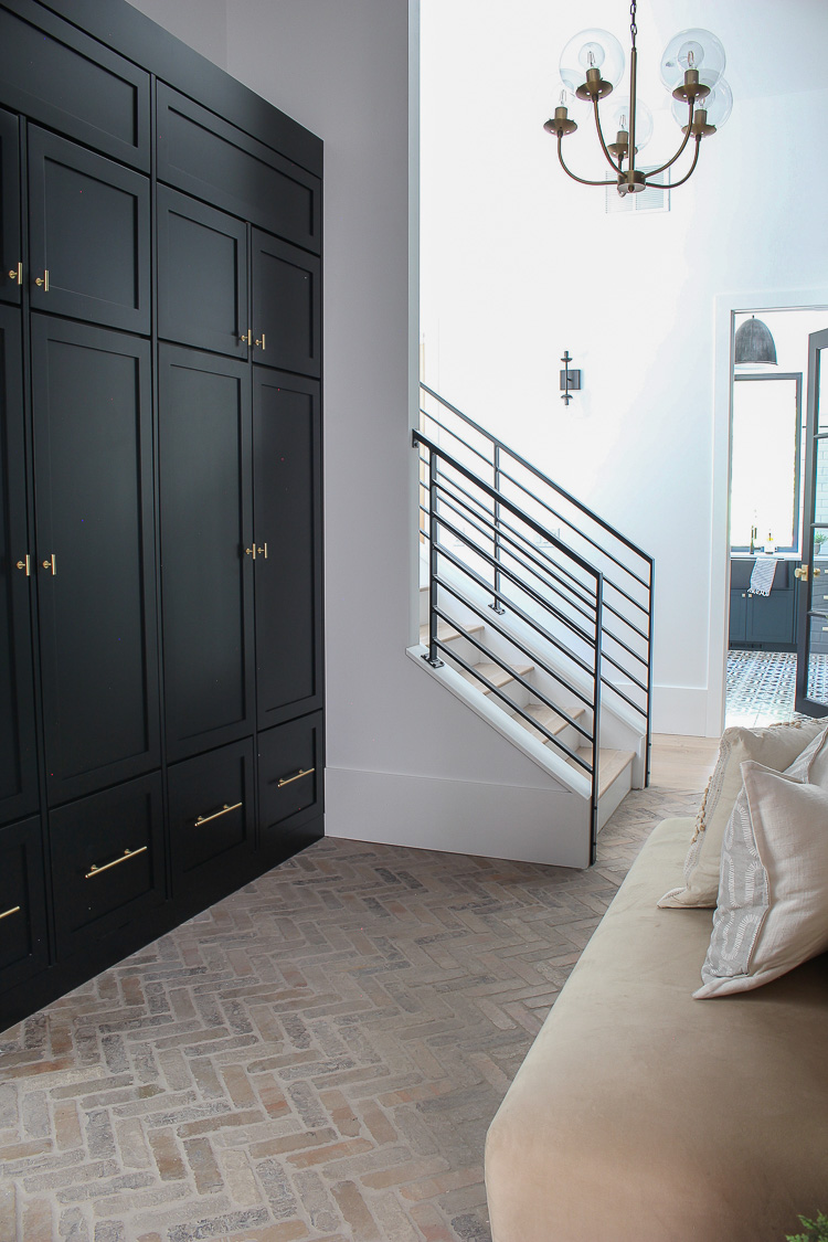 Our Black Mudroom With Brick Herringbone Floors The House Of Silver Lining Mudroom Design Mudroom Flooring Herringbone Floor