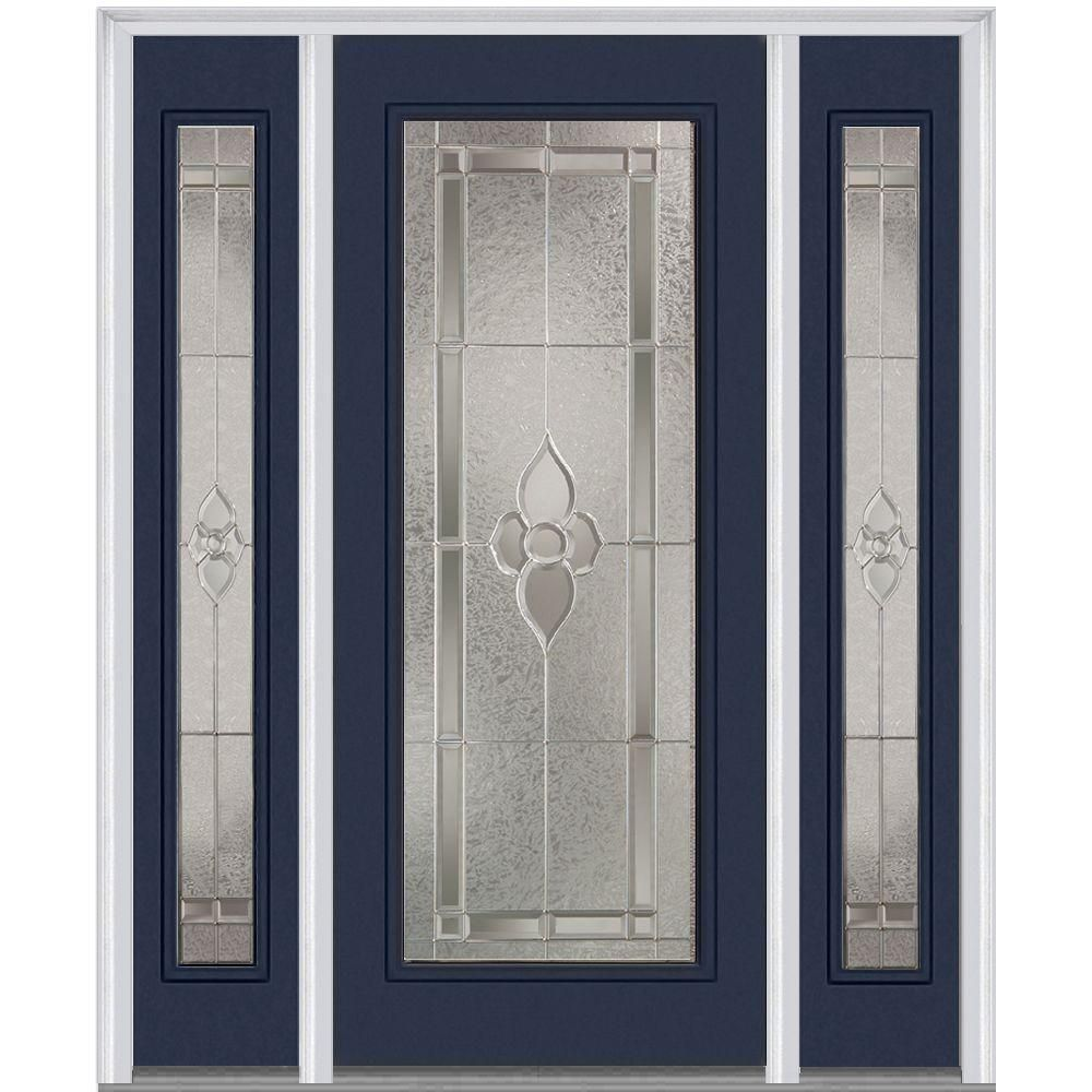 Milliken Millwork 64 5 In X 81 75 In Master Nouveau Decorative Glass 1 2 Lite Painted Fiberglass Smooth Exterior Mmi Door Front Door Mahogany Exterior Doors