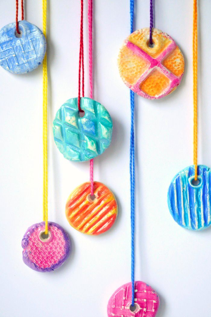 Diy texture clay pendants for kids craft projects and for Simple clay designs