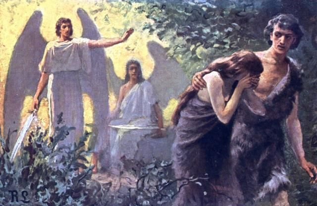 Image result for image of god evicting adam and eve from the garden