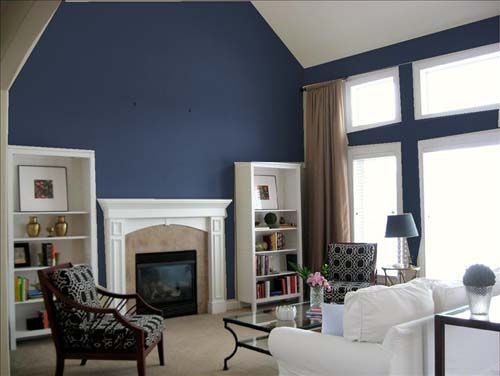Dark Blue Accent Wall Vaulted Ceilings Blue Accent Walls