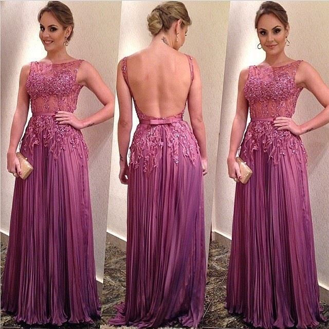 New Arrival 2017 Open Back A-Line Prom Dresses Beading… | Celebrity ...