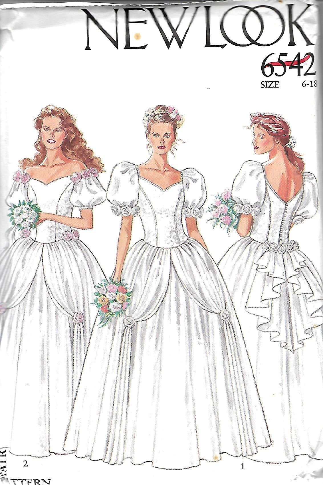 New Look 6542 Misses Bridal Gown Pattern, Wedding Dress, Sweetheart ...