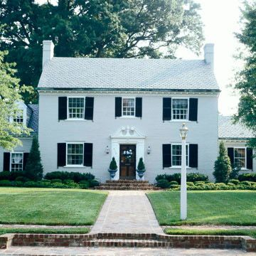 White Brick House With Shutters Curb Appeal