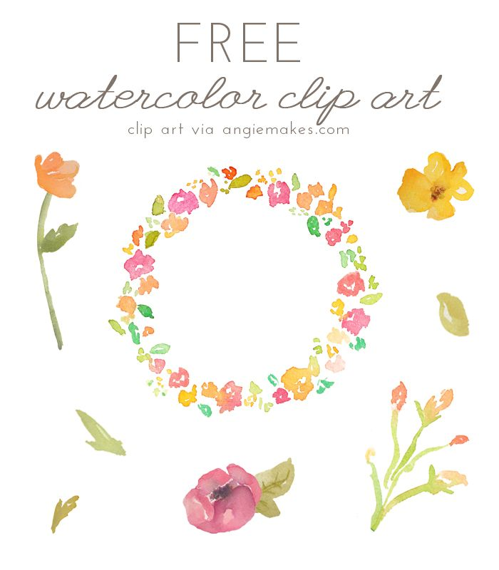 Free Watercolor Flower ClipArt | Teaching, Clip art and Watercolour