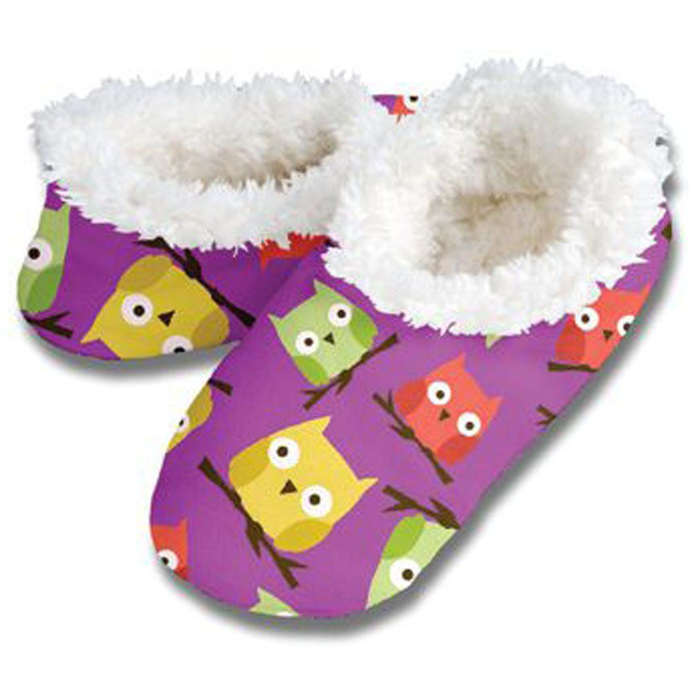 361f80fab16d1 Snoozies Womens Fleece Lined Footies, Purple Owls Womens ...