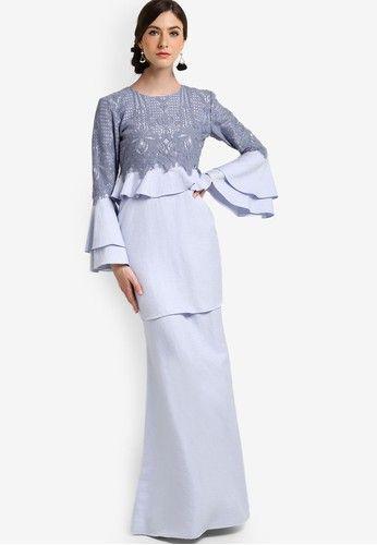 Arabella Peplum Kurung From Kree For Zalora In Blue 1 Malay Nyonya