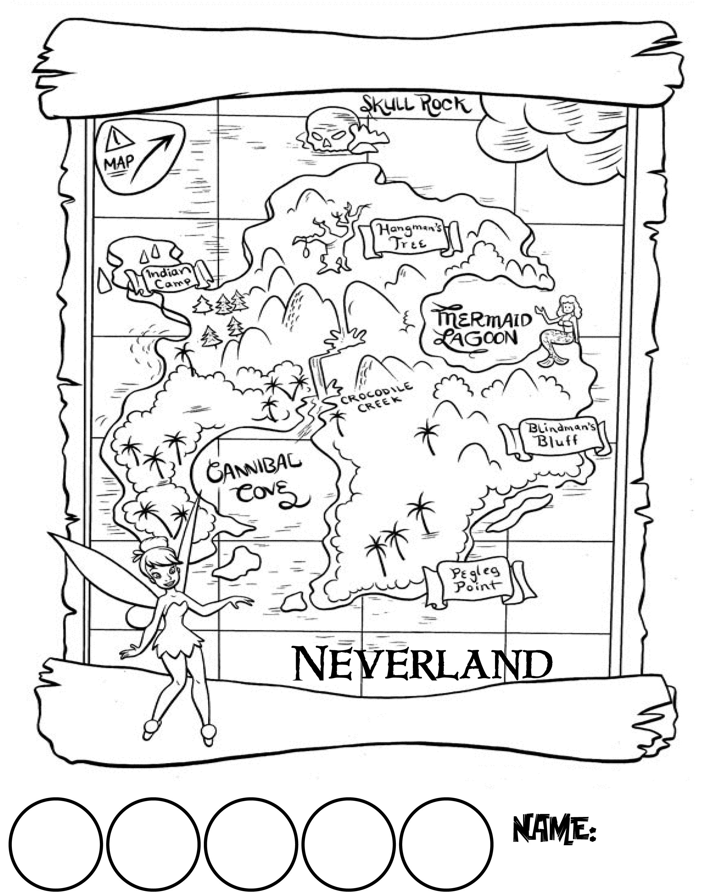 Vertical Map Of Neverland With Circles For Collecting 1 Gold Doubloon Stickers Peter Pan Coloring Pages Peter Pan Crafts Summer Coloring Pages